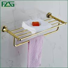 image bath glass shelf: flg hotel style bathroom accessories gold color double towel rack  solid brass wall mounted
