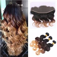 <b>Ombre</b> Brazilian Virgin Hair Body Wave 3 <b>Bundles with</b> Closure 3 ...