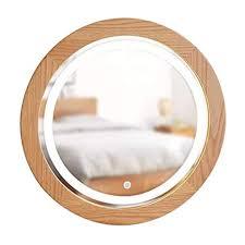 SDK Round Makeup Mirror Circle <b>Wooden Frame</b> with <b>LED</b> Light ...
