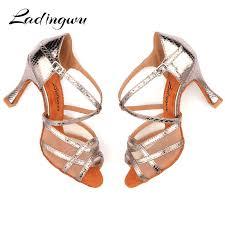 Ladingwu Dance Shoes Women Latin 9cm Cuban Heel Salsa ...