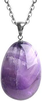 iSTONE Natural Amethyst Pendant Necklace ... - Amazon.com