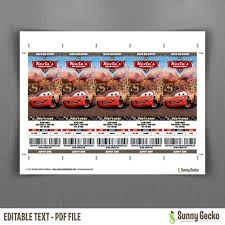 cars birthday ticket invitations instant and edit cars birthday ticket invitations lightning mcqueen
