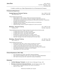 Resume Examples  Sales Representative Resume Objective Example With Professional Experience As Personal Training And Marketing