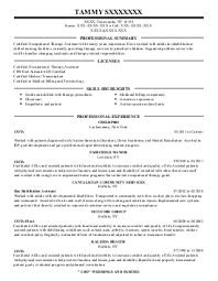 occupational and physical therapy resume examples in tonawanda    tammy s   occupational and physical therapy resume   tonawanda  new york
