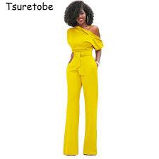 Tsuretobe <b>New Fashion</b> Off the Shoulder Elegant Jumpsuits <b>Women</b> ...