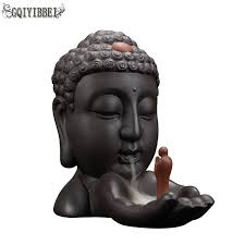 GQIYIBBEI Buddha Head <b>Backflow Incense Burner Creative</b> Home ...