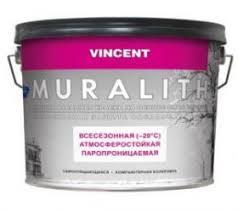 <b>Краска</b> Фасадная Всесезонная <b>Vincent</b> Muralith <b>F1</b> 9л до -20°С ...