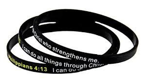8130003 Set of 3 Philippians 4:13 Thin <b>Silicone Bracelet Band</b> I Can ...