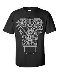 100% <b>Cotton Brand</b> New ENGINE DESIGN T shirt Black <b>S 3XL</b> JDM ...