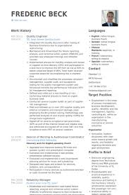 quality engineer resume samples resume format for quality engineer