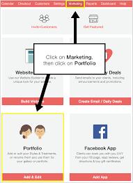 how to create a portfolio or gallery vagaro support go to marketing and then click on portfolio