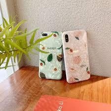 Phone Shell <b>Small Fresh</b> Peach <b>Avocado</b> Shell <b>Pattern</b> All-inclusive ...