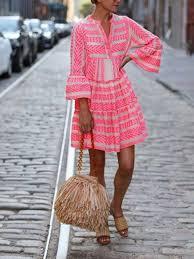 <b>Fashion V</b>-<b>Neck</b> Print Holiday <b>Dress</b> - hipju.com