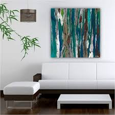 very large teal wall art print abstract landscape trees oversized colorful blue canvas office artwork bedroom artwork for office walls