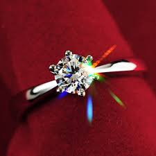 2019 Never Fading 1.0ct <b>S925 Silver</b> Engagement Anel Ring 18K ...