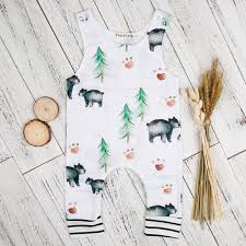 2019 2017 <b>Baby Bear</b> And Tree Jumpsuit Boys Newborn <b>Romper</b> ...
