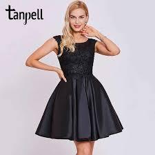 <b>Tanpell</b> black homecoming dress elegant white scoop sleeveless a ...