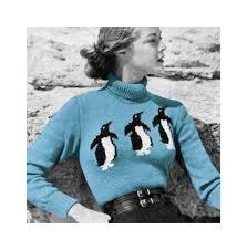 1950s Vogue <b>Knitting</b> Pattern <b>Penguin Ski</b> Sweater by ...