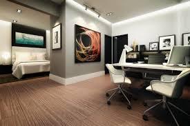 bedroom master office combo white ceramic flooring side open bookcase slim base shelves black wooden purple bedroom office combination