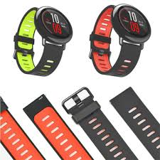 22mm double colors <b>silicone watch strap replacement</b> bracelet band ...