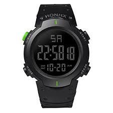 For <b>HONHX Men's</b> Waterproof LCD Digital Stopwatch Date Rubber ...