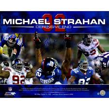 online sports memorabilia auction pristine auction michael strahan signed career accomplishments 16x20 photo at pristineauction com