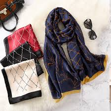 <b>REALSISHOW</b> Plaid Silk Scarf For Women <b>2019</b> Korean Version ...
