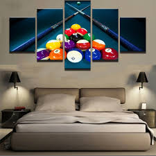 <b>HD Printed</b> Modular Canvas Poster <b>5 Panels</b> Snooker Pool Painting ...