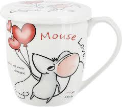 <b>Кружка</b> с крышкой Nouvelle Mouse love, в ассортименте, белый ...