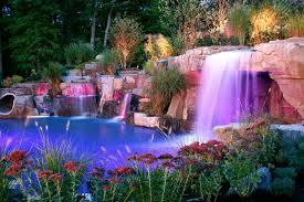 pool waterfall lighting. backyard led pool waterfalls lighting design ideas saddle river new jersey back yard pinterest waterfall and