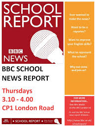 bbc school report front page web bbc school report allows us wrenn students the chance to write and report news stories that interest us