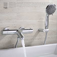 thermostatic brand bathroom: hpb brass thermostatic faucet bathroom shower faucets wall mounted bathtub mixer bath set torneira banheiro chuveiro