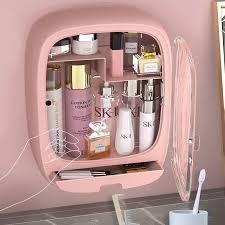 <b>Wall</b>-<b>Mounted</b> Rectangular Pink <b>Cosmetic Storage Box</b> Cute ...