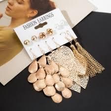 6 Pairs/Sets Vintage Gold Color Leaves Long Tassel ... - SUNSKY