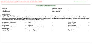 assistant employment contracts   shop assistant