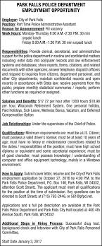 park falls police department employment opportunity employment park falls police department employment opportunity employment ads from price county review