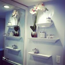 image bath glass shelf: minimalis bathroom design tall flower vase white open rack bowl accessories light blue wall big
