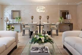 bayview house example of a trendy living room design in other art deco dining table high