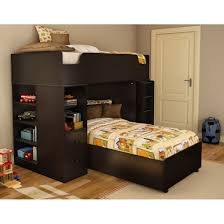 furniture astounding low height bunk beds for small bedroom black wooden loft bed with drawers and book shelf on cream carpet natural floor stairs also astounding modern loft bed
