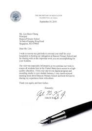 letter of appreciation from the u s secretary of education letter from us