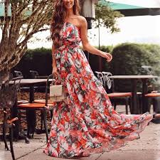 <b>Women's Elegant Flower</b> Pattern Sloping Shoulder Dress ...
