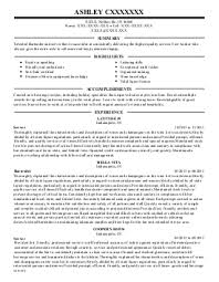 find resume examples in noblesville  in   livecareerashley c    bartenders resume   noblesville  indiana