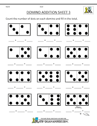 Addition and Subtraction Worksheets for KindergartenDomino Addition Sheet 3