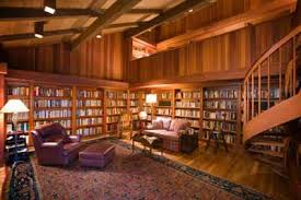 this lucky person has lots of room for a home library that incorporates built in built home library
