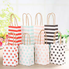 <b>20Pcs Small</b> Striped Kraft Paper <b>Gift</b> Bag With Recyclable Handle ...