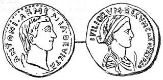 cleopatra writework denarius depicting antony and cleopatra sear 440