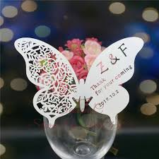 <b>60pcs lot</b> Butterfly Laser Name Place Card Cup Paper Card <b>Table</b>