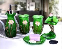 bathroom accessories pcs font lotus bathroom accessories  pcs set font b lotus b font flowers leaves