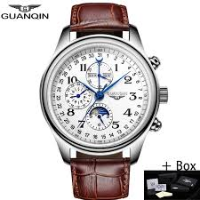 <b>GUANQIN Men Mechanical Sapphire</b> Watches Leather Luxury Top ...
