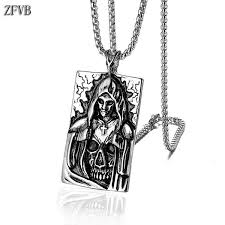 Compre <b>ZFVB</b> Punk Death Satan <b>Cross</b> Skeleton Skull Collares ...